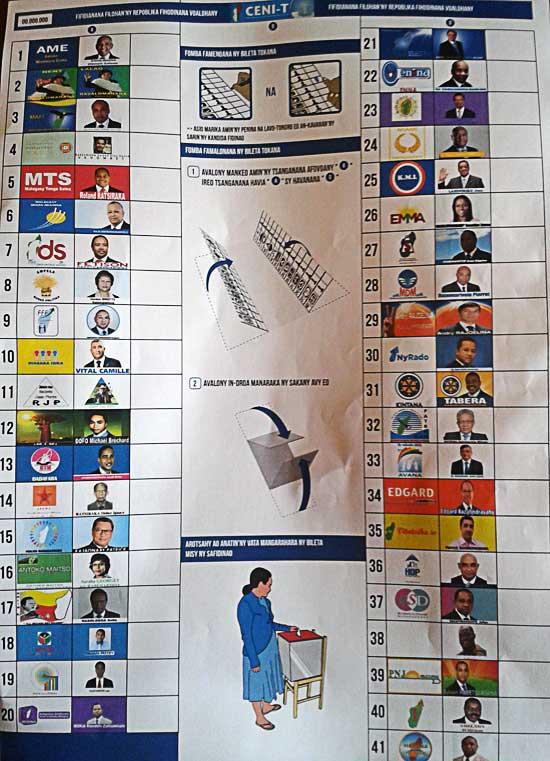 Bulletin unique, présidentielle à Madagascar. Crédit photo: la CENI-T