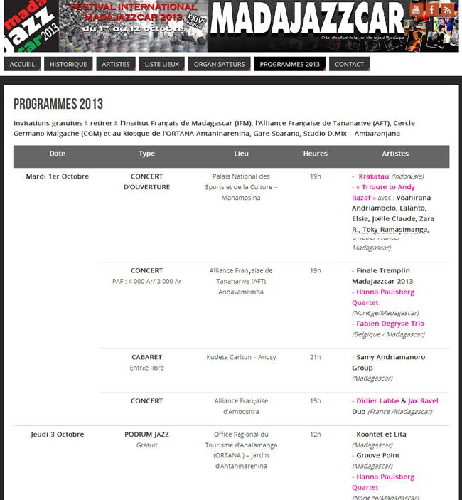 Extrait du programme de Madajazzcar 2013