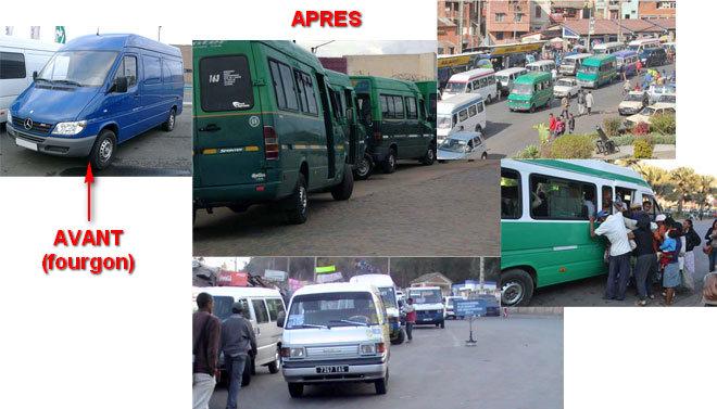 Montage photos - Les taxi-bé d'anciens fourgons Mercedes Sprinter et des minibus du japonais Mazda