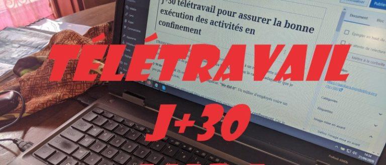 Article : J+30 télétravail pour assurer la bonne exécution des activités en confinement